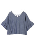 Flare Short Sleeve Back Lace Up Pure Color V Neck Denim Shirts For Women