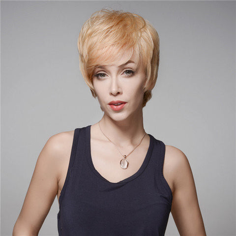 14 Colors Short Virgin Remy Human Hair Wig Mono Top Side Bang Capless