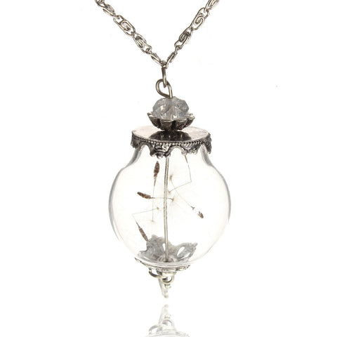 Wish Bottle Glass Pendant Sweater Chain Necklace