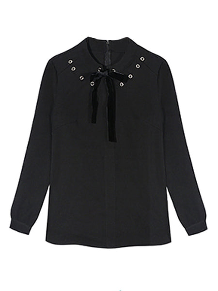 Women Long Sleeve Big Bow Pure Color Blouse