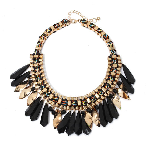 Weaving Metal Crystal Tassel Statement Necklace