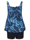 Sexy Printing Hollow Out Back Swimsuit Two Pieces Swimwear for Women