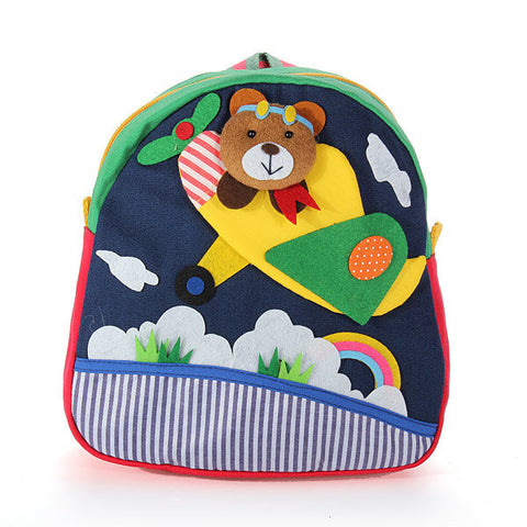 Kids Handmade Cotton Bag 3D Cartoons Plane Bear Backpack
