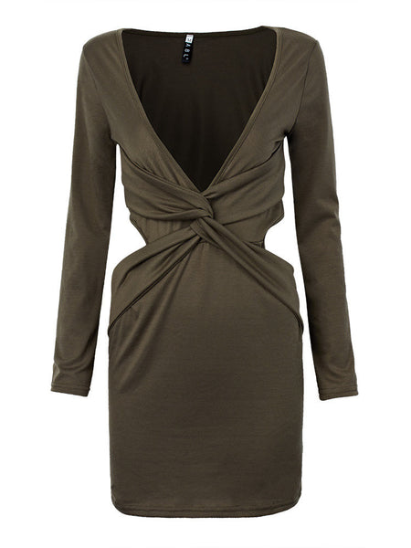 Sexy Women Deep V-neck Solid Hollow Out Long Sleeve Sheath Mini Dress