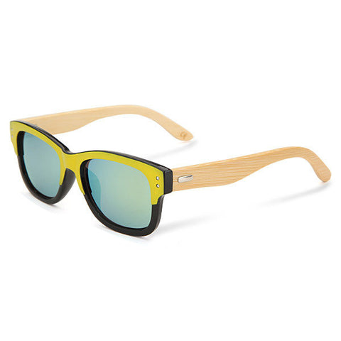 Neutral Pure Handmade Bamboo Legs Rivet Sunglasses Colorful Frame Eyewear Glasses