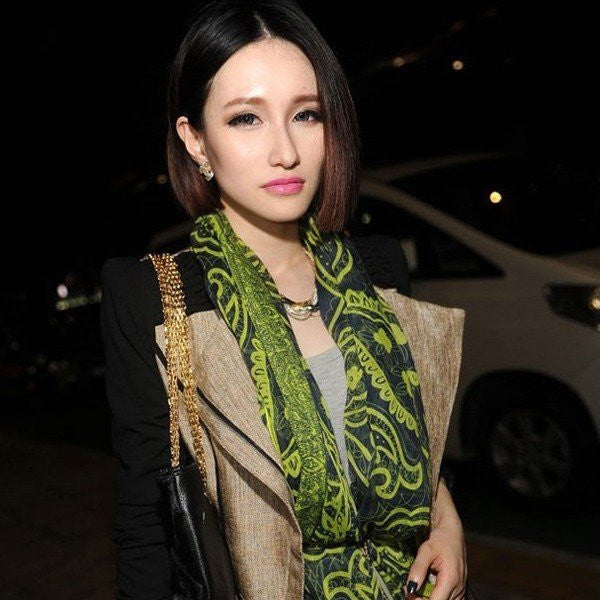 Autumn Winter Vintage Style Distinctive Persian Lines Contrast Color Voile Scarf - shechoic.com