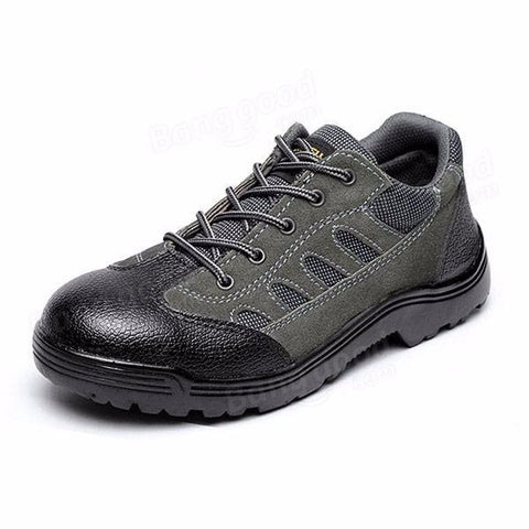 Men Suede Wearproof Toe Protecting Lace Up Mountaineering Sport Shoes