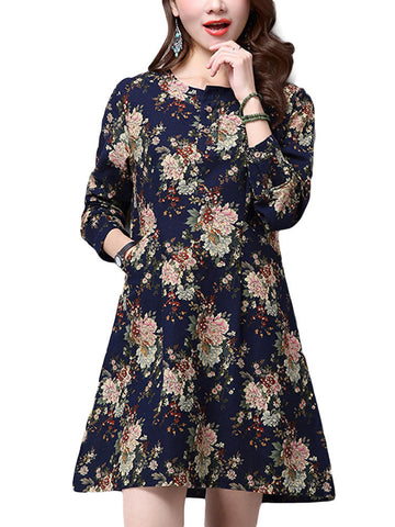 Casual Women Pocket Floral Printed Long Sleeve O-neck Flax Linen Straight Dress