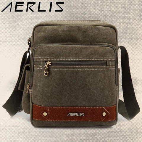 AERLIS Men Canvas Retro Leisure Shoulder Bag Multi-pocket Stitching Toolkit Crossbody Bag - shechoic.com