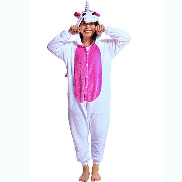 Plus Size Cute Animal Cosplay Sleepwear Flannel Unisex Jumpsuits Pajamas