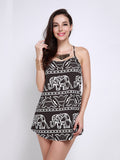 Women Elephant Print Strap Boho Dress