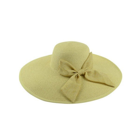 Foldable Wide Brim Women Sun Summer Beach Bow Cap Boheimia Floppy Straw Hat
