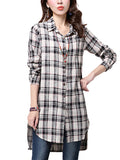 Elegant Women Asymmetrical Hem Button Plaid Lapel Cotton Linen Shirt Blouse