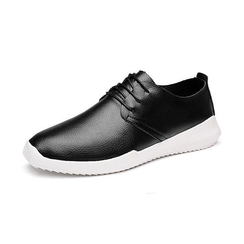 Men Leather Soft Light Breathable Korean Style Lace Up Casual Sport Shoes