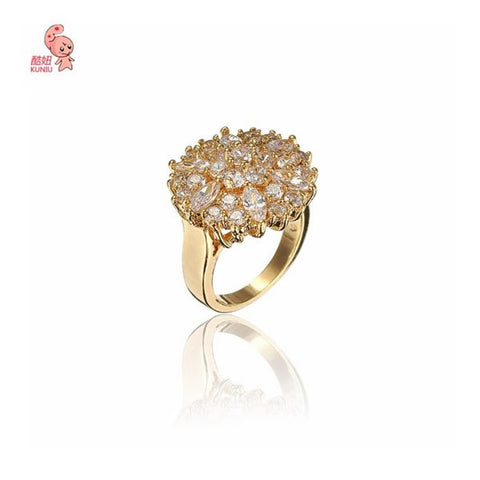 18K Gold Plated Round Cubic Zirconia Ring