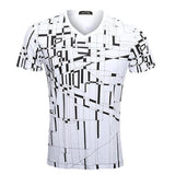 Summer Fashion Irregular Structured Printing T-shirts Breathable Casual Tops Tees For Men