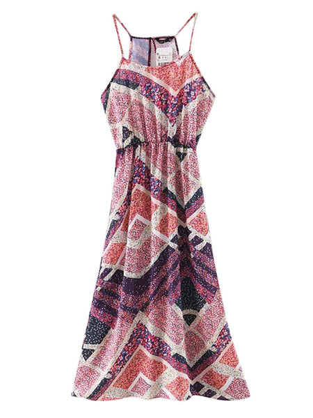 Sexy Beach Printed Sleeveless Striped V-Neck Long Dress For Women