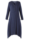 Vintage Women Long Sleeve Pure Color V Neck High Low Long Maxi Dress