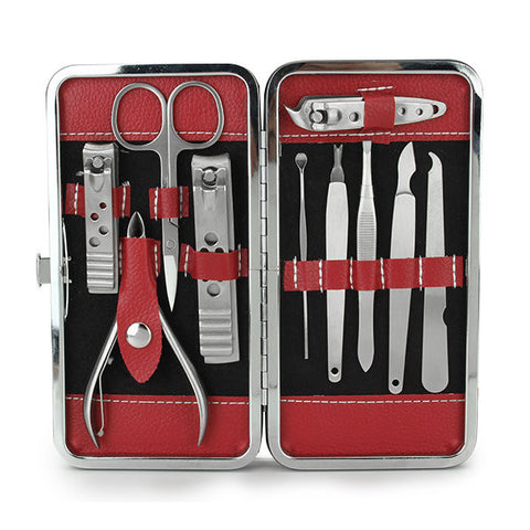 10 In 1 Stainless Steel Nail Clipper Set Manicure Pedicure Ear PickWith Red Case