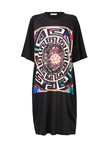 Casual Printed Short Sleeve Loose Long Black Shirt Dress For Women