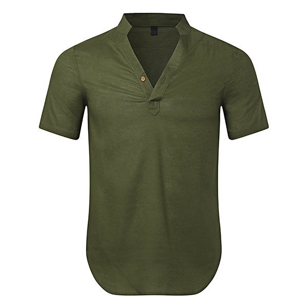 Mens Chinese Style Cotton Linen Solid Color V-neck Stand Collar Short Sleeve Casual T-shirt