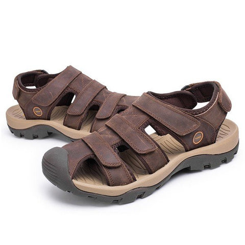 Men Leather Hollow Out Toe Protecting Hook Loop Outdoor Beach Sandals