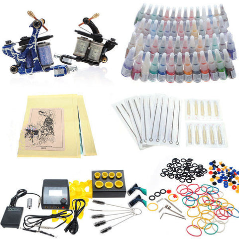 Professional Tattoo Kit 2 Machines 54 Colors Inks 20 Needles