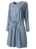 Vintage Women Elastic Waist Pocket Pure Color Long Sleeve Dress