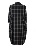 Loose Plaid Long Shirt Dress 3/4 Sleeve Button Dress For Women