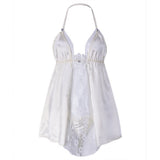 Sexy Halter Hollow Out Silk-like Babydoll Transparent Lace Nightdress For Women