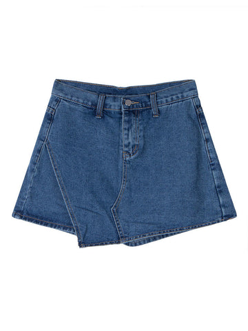 Women High Waist Irregular Hem Denim Shorts