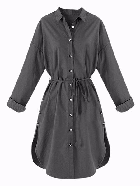 Women Belt Button Blouse Long Sleeve Lapel Mini Dres