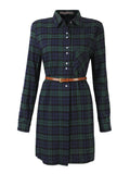 Plaid Long Sleeve Turn Down Collar Shirt Dress For Women