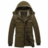 Men's British Style Casual Winter Outdoor Slim Fit Thicken Warm Cotton Hooded Coat