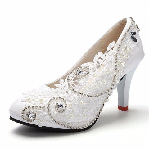 8cm White Crystal Lace Bead Flower Wedding Bridal High Heels Pumps