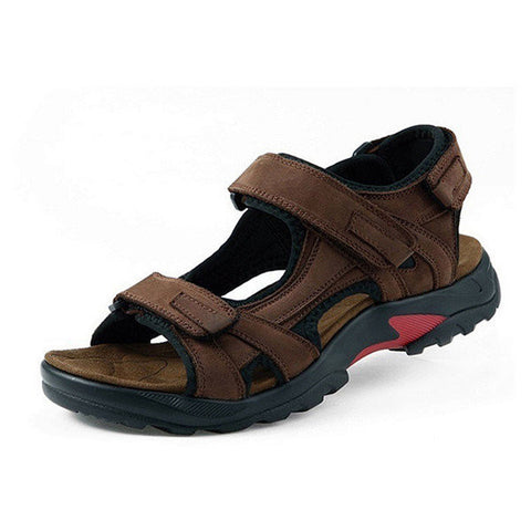 Big Size Men Leather Hook Loop Summer Outdoor Beach Sandals