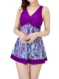 Plus Size Women Printing One Piece Swimwear V Neck Shoulder Straps Dress Swimsuit