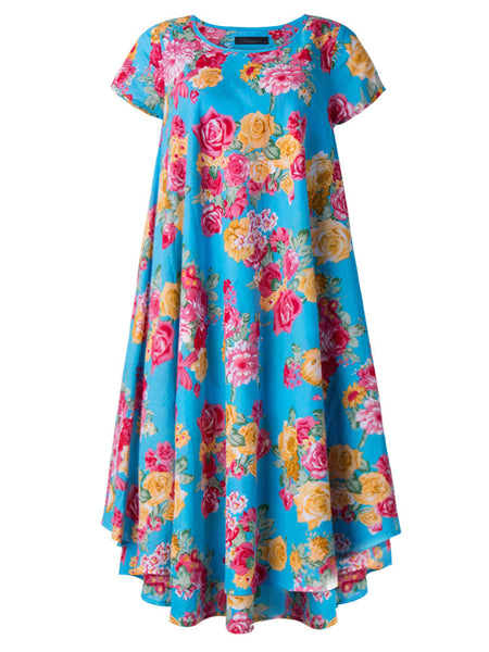 Casual Women Flower Printing High Low Swing Dress