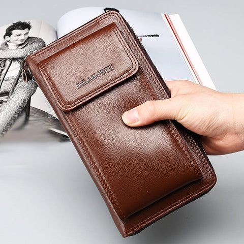 11 Card Holders Vintage Genuine Leather Clutch Bag Business Phone Bag For Men