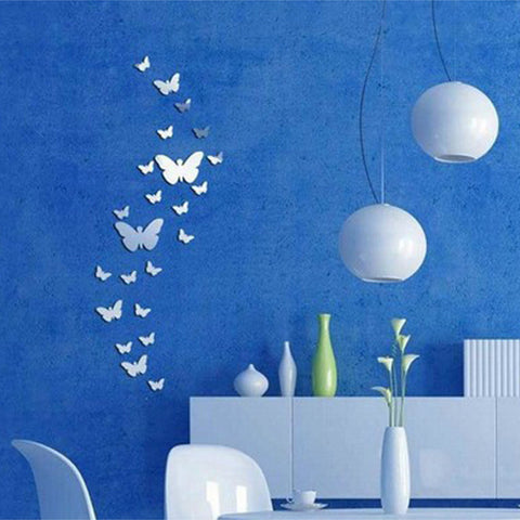 30Pcs Butterfly Silver Acrylic Mirror Wall Sticker 3D DIY Art Home Decoration - shechoic.com