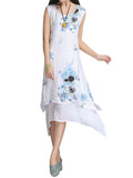 Vintage Women Sleeveless O Neck Floral Printed Fake Two Pieces Dress