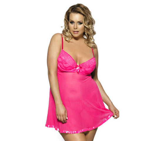Plus Size Women Summer Sexy Sleepwear Sling Solid Color Lace Mesh Nightdress