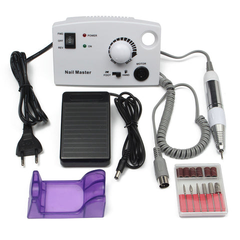 220V-240V Electric Nail Drill Machine Bits Pedicure Manicure Tool Foot Pedal Sanding Cleaner