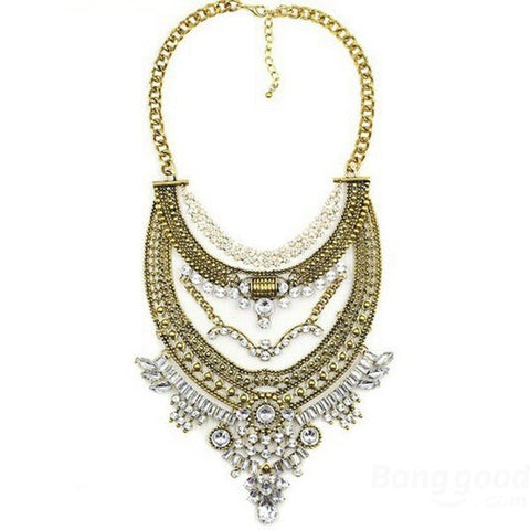 Vintage Bib Rhinestone Crystal Statement Necklace