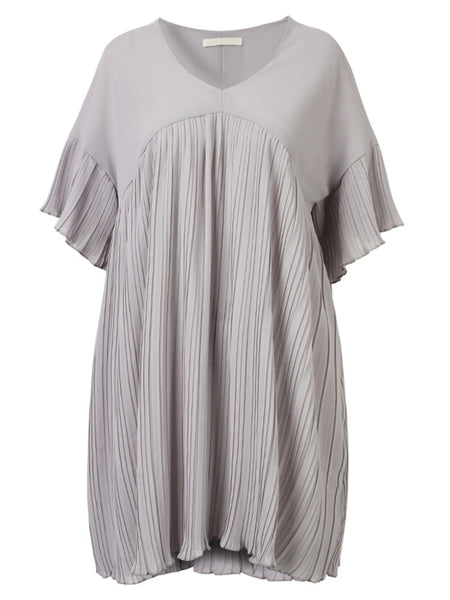 Pleated V-Neck Short Sleeve Pure Color Chiffon Mini Dress For Women