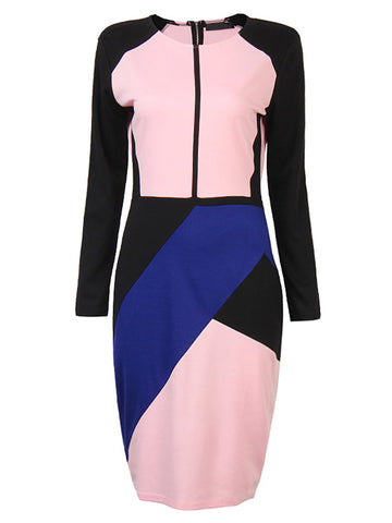 Sexy Hit Color Stitching Long Sleeve Package Hip Dress For Office Women