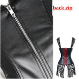 Women Sexy Artificial Leather Lace Bustiers Shoulder Straps Overbust Dress Steampunk Girdles Corsets