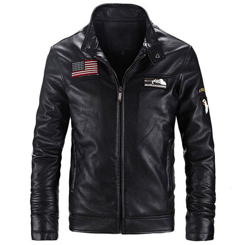 Fashion Motorcycle PU Leather Jacket Slimk Fit Stand Collar Coat For Men