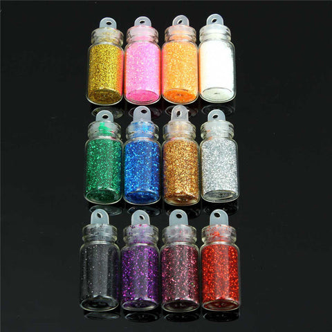 12 Bottles A Set Glitter Nail Art Powder Decoration Tips