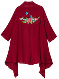 Women Loose Ethnic Wind Embroidered Long Sleeve Flax Cardigan